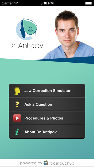 Dr. Antipov ordered special smartphone app Face Touch Up